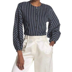 Club Monaco Striped Combo Puff Sleeve Button Front Top Size XS
